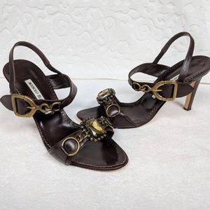 Manolo Blahnik Brown High Heel Sandals